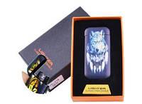 Электроимпульсная зажигалка в подарочной коробке Wolf №HL-116-4