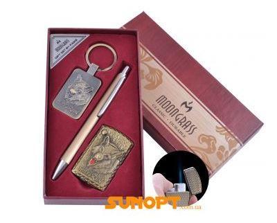 Подарочный набор брелок, ручка, зажигалка Wolf (Острое пламя) №ST-5744