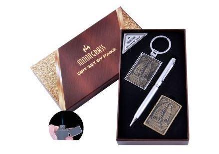 Подарочный набор Лодка Ручка/ Брелок/ Зажигалка (Острое пламя) №AL-203D-4