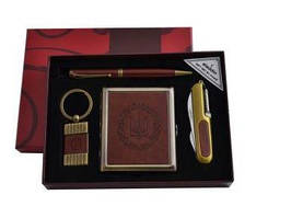 Подарочный набор 4в1 портсигар/нож/ручка/брелок кожа Украина YJ 6420