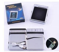 Портсигар+USB зажигалка на 20 сигарет (Спираль накаливания) №4978-6