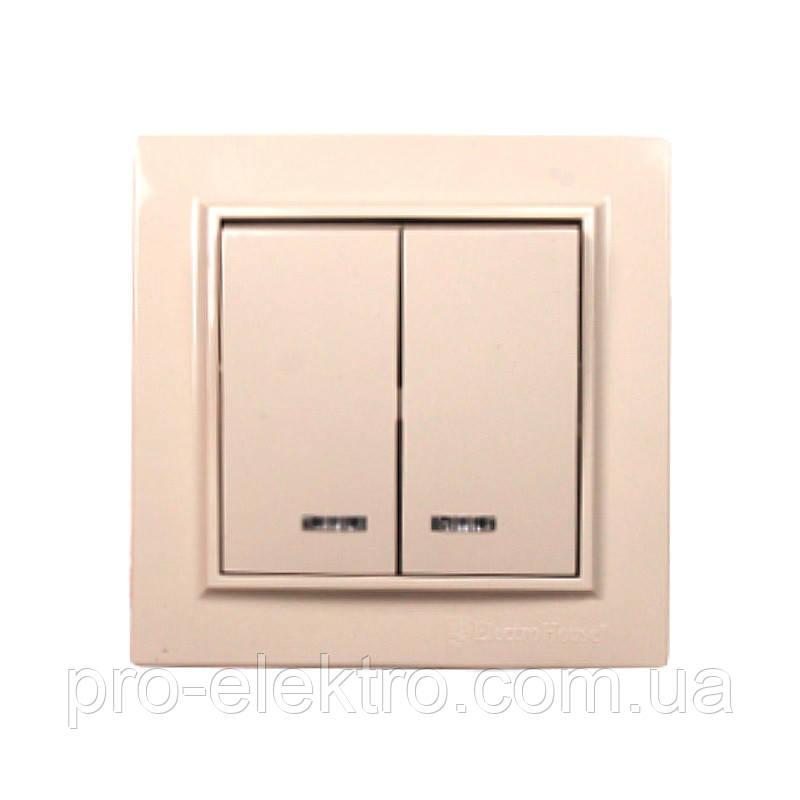 Выключатель с подсветкой двойной Enzo (Латте) EH-2184