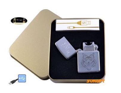 Электроимпульсная зажигалка в металлической упаковке JIN LUN (USB) №4838-4