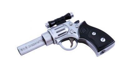 Зажигалка газовая Пистолет Револьвер с лазером (Острое пламя) №4428