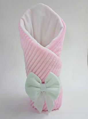 Конверт на выписку из плюша с флисом зимний розовый, фото 2