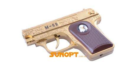 Зажигалка сувенирная Пистолет M-69 (Турбо пламя) №XT-1609 Gold