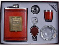 Подарочный набор с флягой для мужчин Jack Daniels кожа+набойка (фляга,брелок,пепельница,стопка,лейка)
