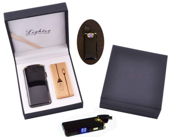 Электроимпульсная зажигалка в подарочной коробке Lighter №HL-111 Black