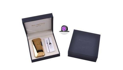 Электроимпульсная зажигалка в подарочной коробке Lighter (USB) №5007 Gold