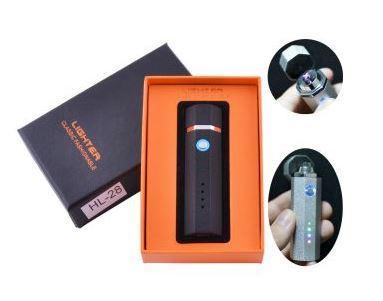 Электроимпульсная зажигалка в подарочной упаковке Lighter (Двойная молния, USB) №HL-28 Black