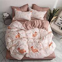 Двуспальное постельное бязь 100% хлопок Фламинго персик