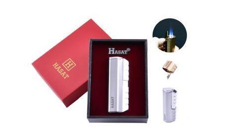 Зажигалка в подарочной коробке HASAT (Острое пламя) №4320 Silver