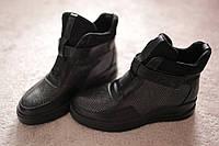 Женские ботинки на липучке черные в стиле Экко теплый мех 36-41