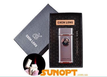 Зажигалка подарочная CHEN LONG (Турбо пламя) №4326 Silver