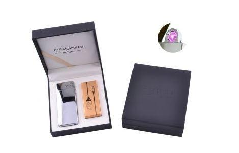 Електроімпульсна запальничка в подарунковій коробці Arc Cigarette №HL-107 Silver