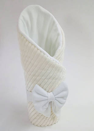 Конверт на выписку из плюша с флисом зимний кремовый, фото 2