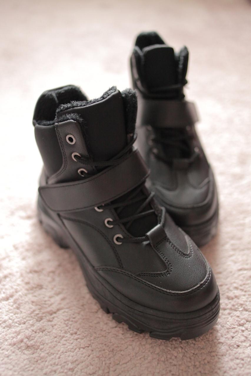 Женские ботинки берцы кожа черные шнурки липучка в стиле Найк Air Force