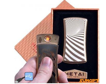 """USB зажигалка в подарочной упаковке """"HETAI"""" (спираль накаливания) №4815-2"""