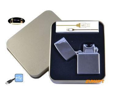 Электроимпульсная зажигалка в металлической упаковке JIN LUN (USB) №4839-3