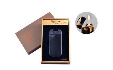 """USB зажигалка в подарочной упаковке """"Black"""" (Газовая с электроимпульсным поджигом) №4805-4"""