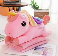 Мягкая игрушка-плед трансформер 3 в 1 Сказочный Единорог плед+игрушка+подушка Розовый