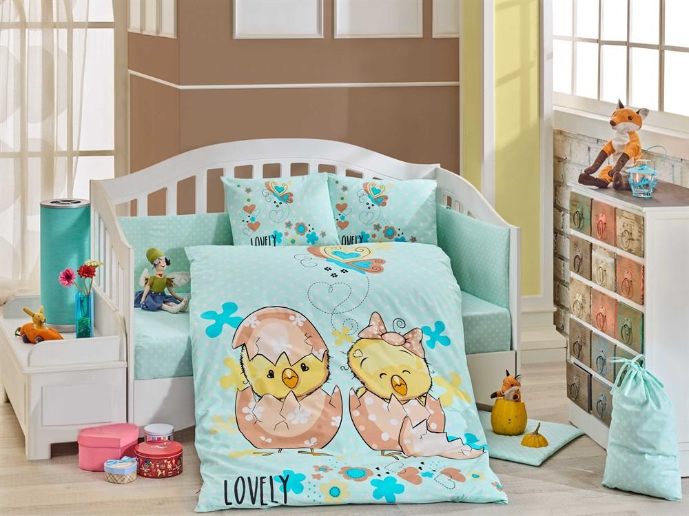Детская постель в кроватку 100х150 HOBBY поплин Lovely мятный