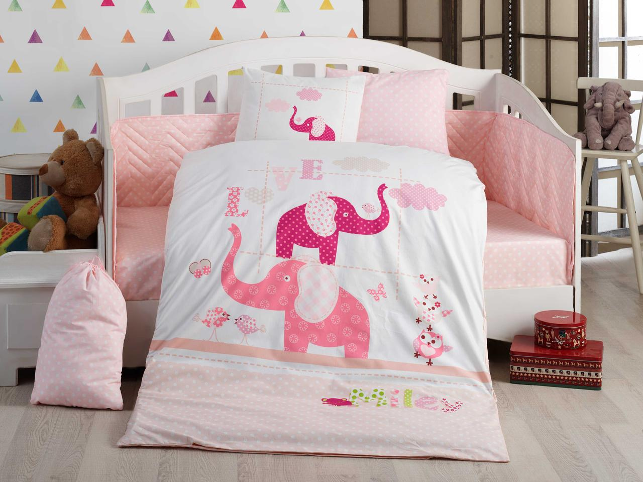 Детская постель в кроватку 100х150 HOBBY поплин Pretty розовый