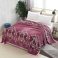 Розовый плед с узором из микрофибры, домашнее покрывало-плед на кровать