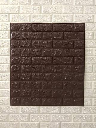 Декоративная стеновая 3Д панель самоклейка под кирпич коричневый 77*70 см 7 мм, фото 2