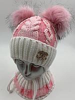 ОПТ, Комплект, шапочка для девочки с баффом «Косы», на флисе, фото 1