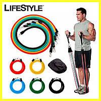 Эспандер для фитнеса / Резинки для тренировок / Комплект из 5 штук(Копия) + Наушники в Подарок