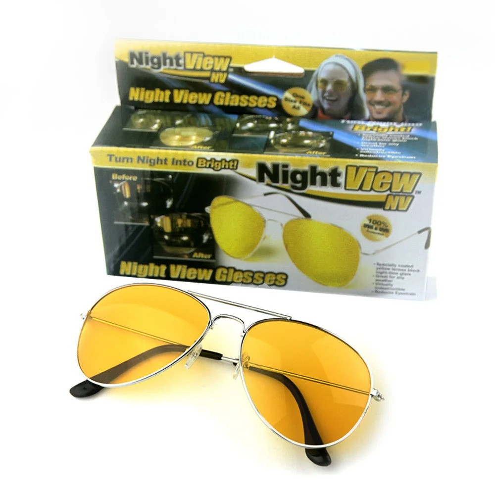 Очки для водителей желтые для ночного вождения, Авиаторы Night View Glasses в металлической оправе