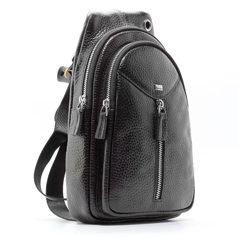 Сумка через плечо, слинг кожаный черный Desisan 1464-01 Турция