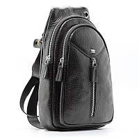 Сумка через плечо, слинг кожаный черный Desisan 1464-01 Турция, фото 1