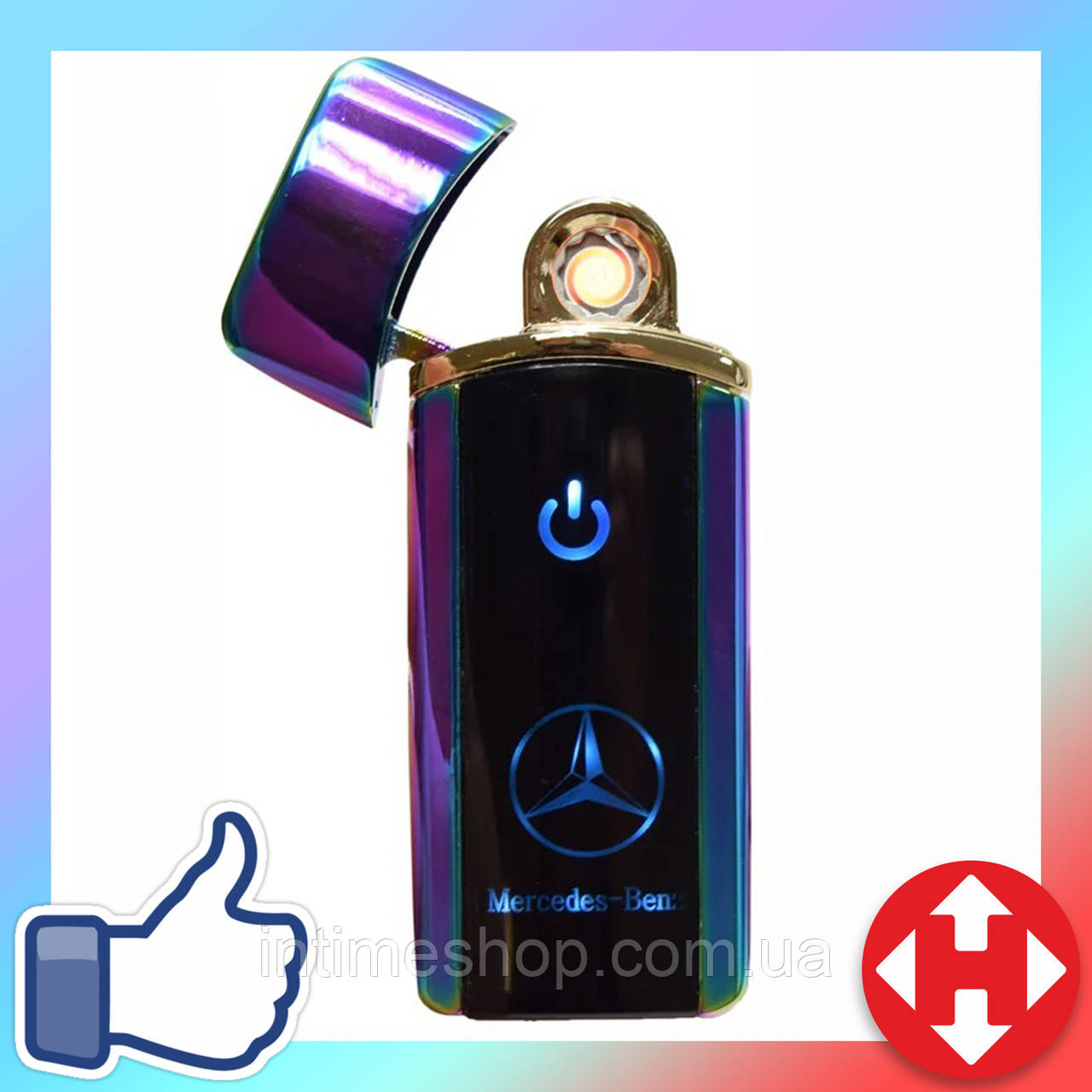 Распродажа! Электронная сенсорная зажигалка Classic Fashionable Mercedes (5403 H1) Фиолетовая, аккумуляторная