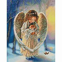 Алмазная живопись мозаика по номерам на холсте 40*50см BrushMe GF4100 Ангелочек с котенком
