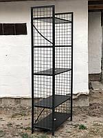 Чёрный металлический шкаф стеллаж Лофт с сеткой