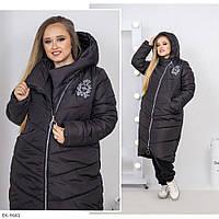 Женская зимняя черная куртка длинная батал