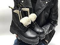 Женские зимние ботинки Dr Martens Jadon черного цвета на меху (Зимние ботинки Доктор Мартинс Жадон)