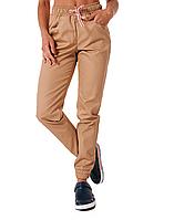 Медицинские штаны Парма бежевый с коричневой полоской (манжет)