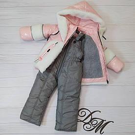 """Детский зимний комбинезон для девочки """"Барашек"""" розовый с белым"""
