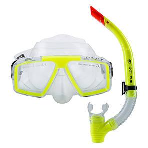 Набор для плавания маска с трубкой Dolvor M4204P+SN52P желтый