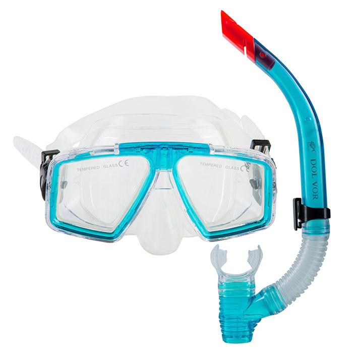 Набор для плавания маска с трубкой Dolvor M4204P+SN52P голубой