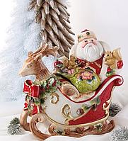 Конфетница, емкость для сладостей Дед Мороз на санях 59-468