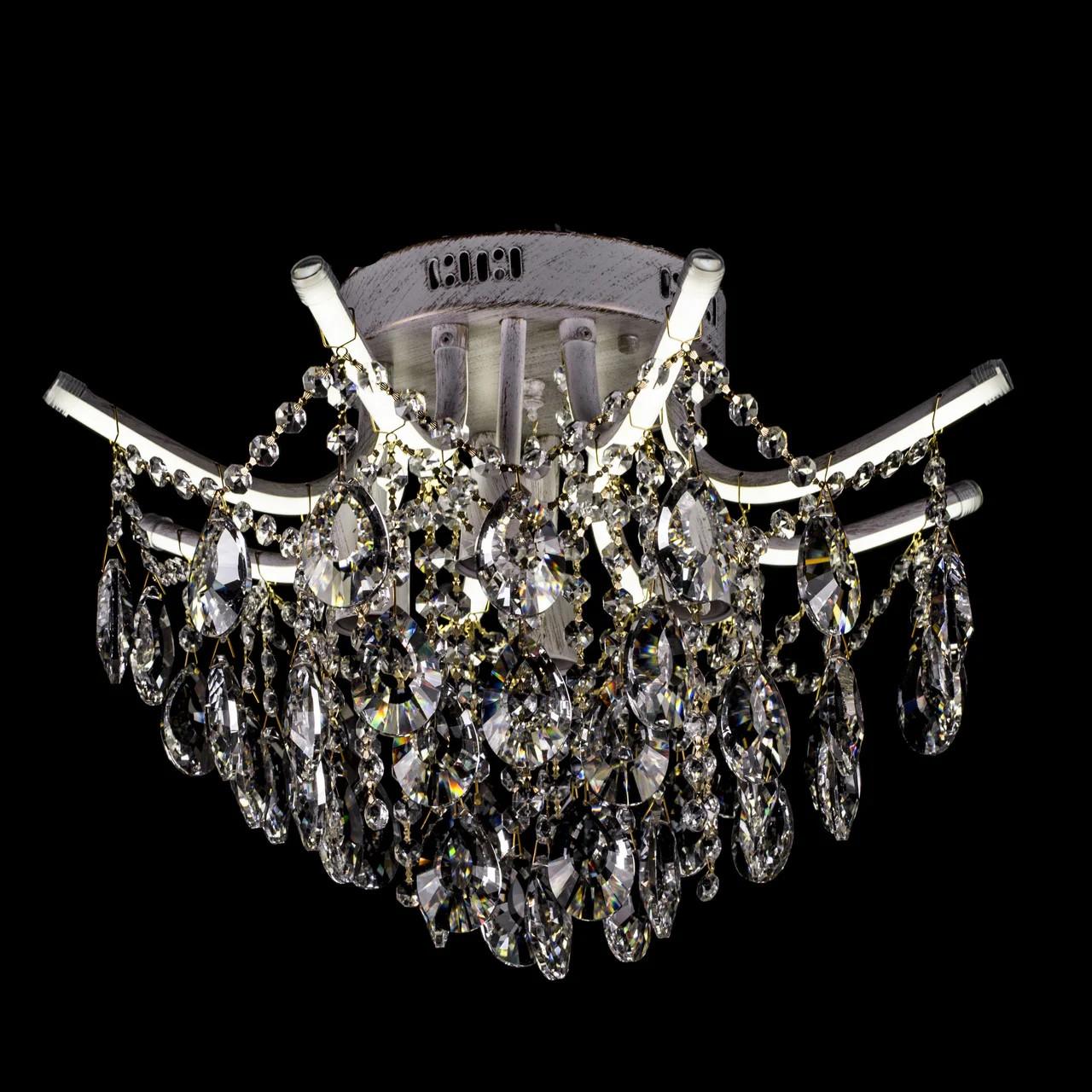 Хрустальная люстра c LED подсветкой рожков на 4 лампочки СветМира золотая патина 2717/4+8/WG