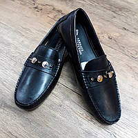 Мужские мокасины Versace чёрные кожаные
