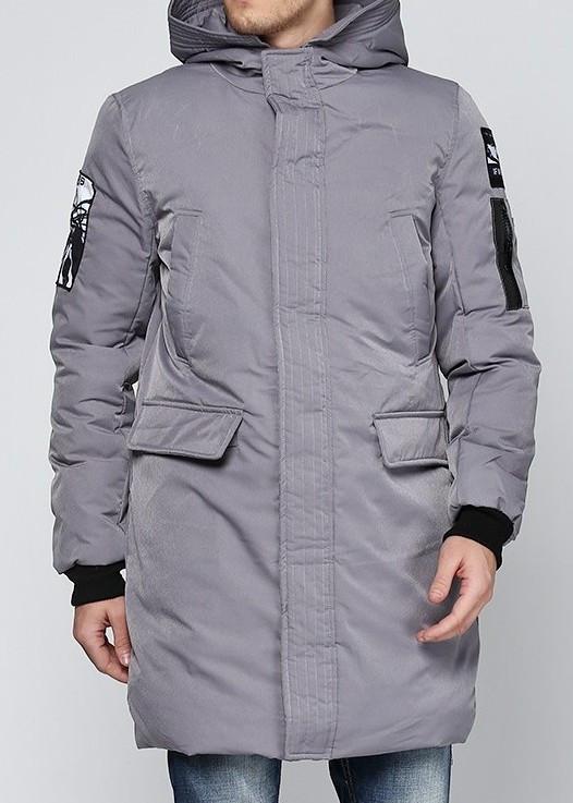 Куртка зимняя мужская серая, длинный пуховик  СС-7867-75