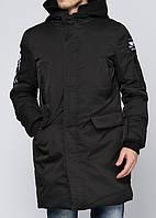 Куртка зимняя мужская черная, длинный пуховик СС-7867-10