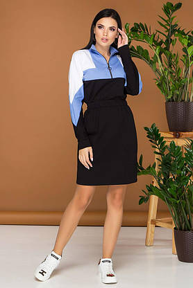Трикотажное платье в спортивном стиле голубое повседневное, фото 3