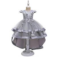 Праздничное стильное платье цвета серый металлик для девочки Ивет